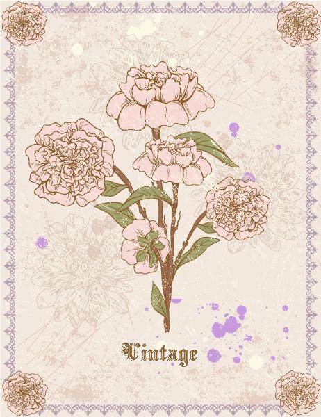 grunge floral background vector illustration Vector Illustrations old