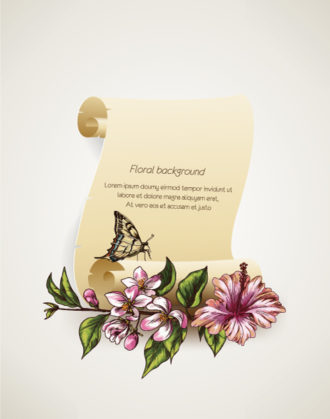 floral vector background illustration with scroll Vector Illustrations floral