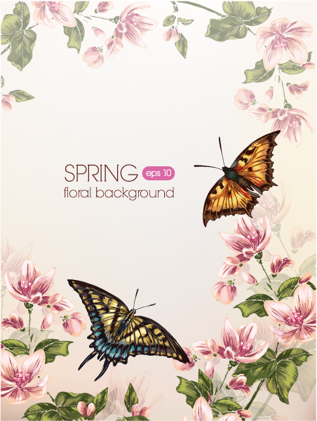 Amazing Butterfly Vector: Floral Vector Background Illustration With Butterfly 5