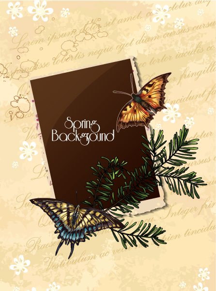 floral vector background illustration with butterfly and photo frame Vector Illustrations floral