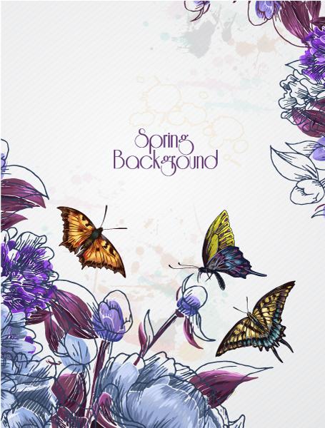 Illustration Vector Floral Vector Background Illustration  Butterfly 2015 01 01 488