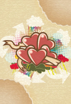 vector abstract background with hearts Vector Illustrations old