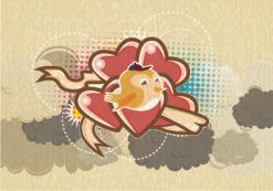 vector abstract background with funny bird Vector Illustrations old