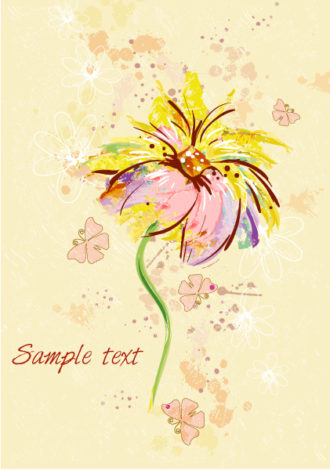 background with floral and butterflies vector illustration Vector Illustrations old