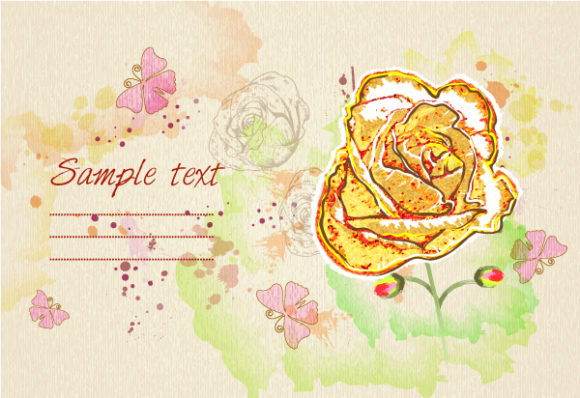 Smashing Floral-3 Vector: Background With Floral And Butterflies Vector Illustration 2015 01 01 512