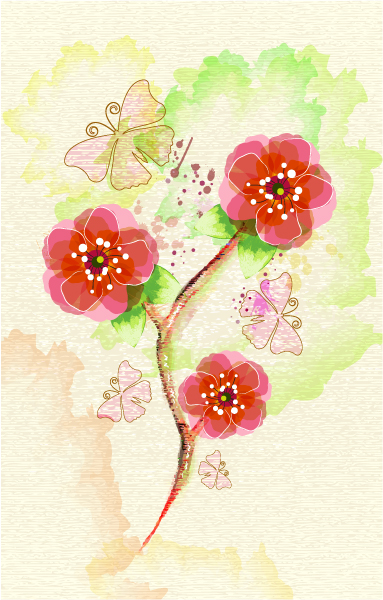 Illustration Vector Art Background  Floral  Butterflies Vector Illustration 2015 01 01 516