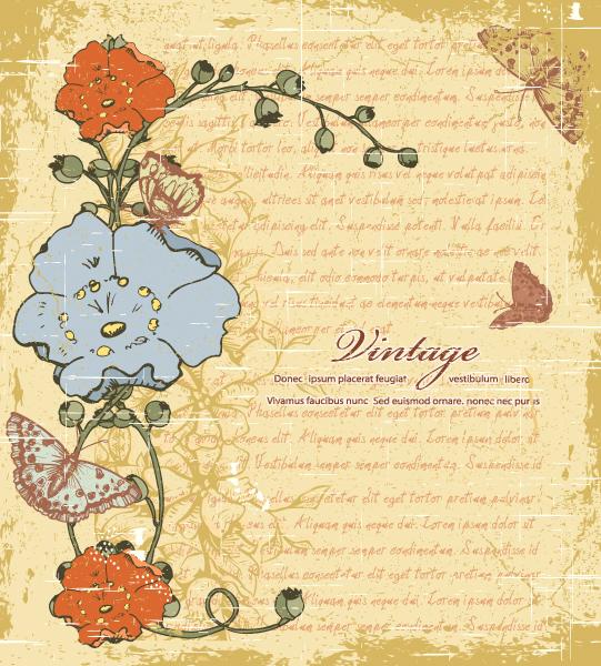 Floral, Leaf Vector Artwork Vintage Floral Background Vector Illustration 2015 01 01 519