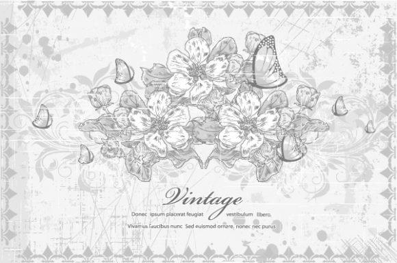 Lovely Floral Vector Illustration: Vintage Floral Background Vector Illustration Illustration 5