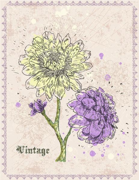 vintage floral background vector illustration Vector Illustrations old