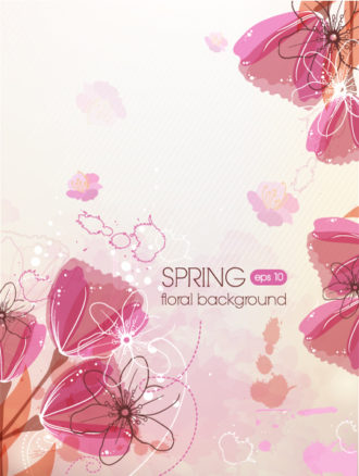 floral vector background illustration with tulip Vector Illustrations floral