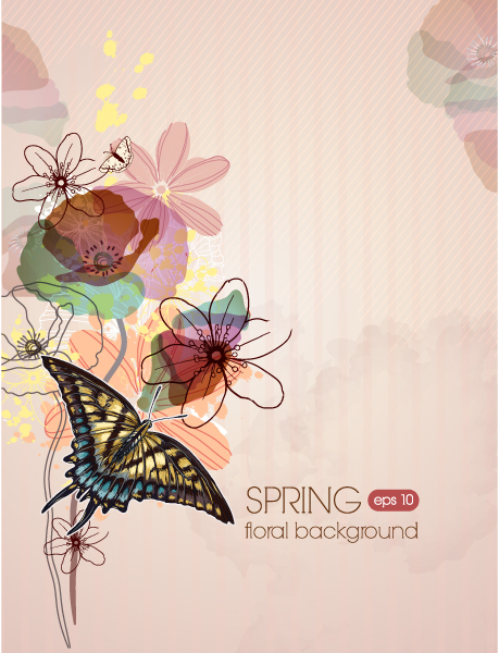 New, 2013 Vector Image Floral Vector Background Illustration  Butterflies 2015 01 01 528