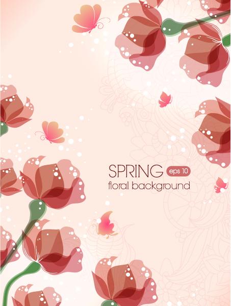 Bold Illustration Vector Illustration: Floral Vector Illustration Background Illustration With Butterflies 2015 01 01 530