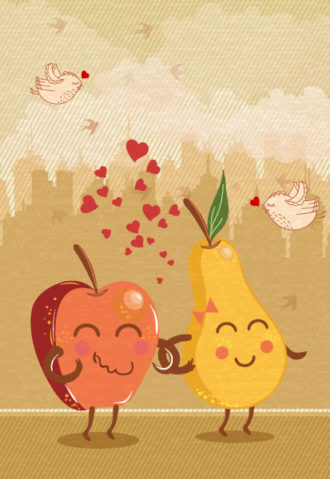 vector abstract background with funny fruits Vector Illustrations tree
