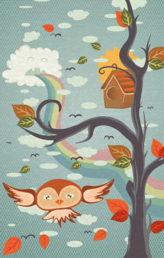 vector abstract background with funny bird Vector Illustrations tree