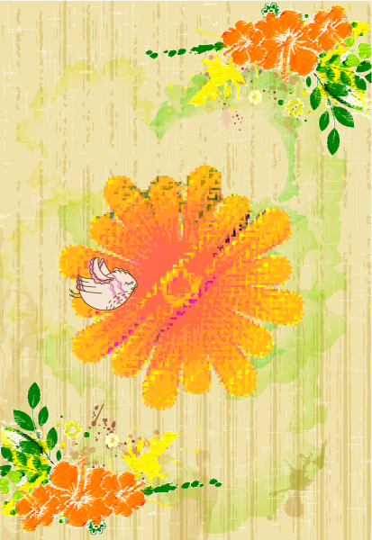 Lovely Floral Eps Vector: Bird With Colorful Floral Eps Vector Illustration 5