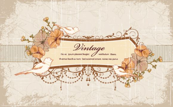 Grunge, Dirty Vector Graphic Grunge Floral Frame Vector Illustration 2015 01 01 573