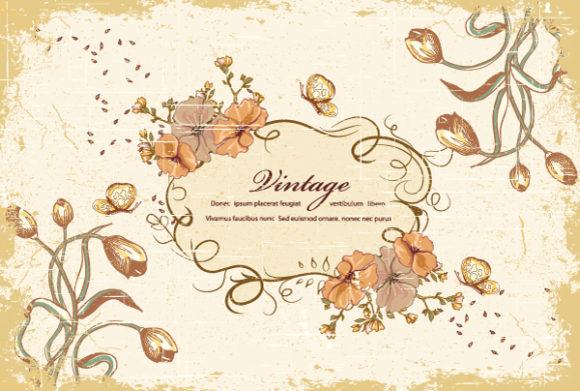 New Floral Vector Background: Grunge Floral Frame Vector Background Illustration 2015 01 01 574