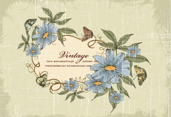Floral Eps Vector: Grunge Floral Frame Eps Vector Illustration 2015 01 01 576