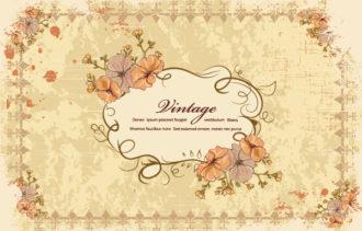 grunge floral frame vector illustration Vector Illustrations old
