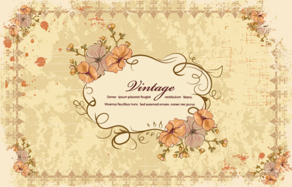 Grunge Vector Graphic Grunge Floral Frame Vector Illustration 5