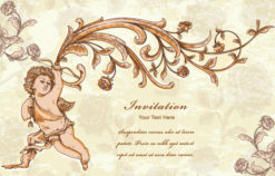 vector vintage background with angel Vector Illustrations old