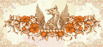 vector vintage background with griffin Vector Illustrations old