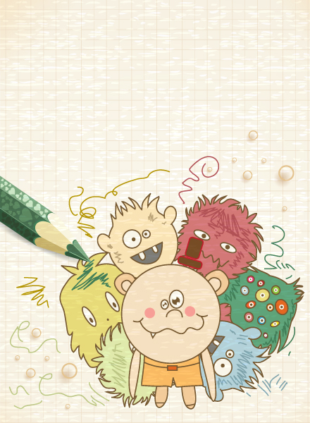 Kids Vector Image: Vector Image Abstract Background With Funny Kids 2015 01 01 602