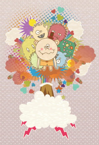 vector abstract background with funny kids Vector Illustrations old