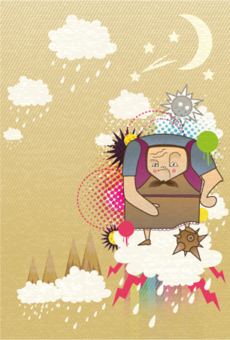 vector abstract background with funny person Vector Illustrations star