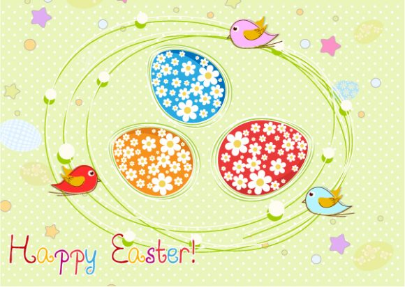 Easter, Colorful Vector Art Colorful Birds Vector Illustration 2015 01 01 613