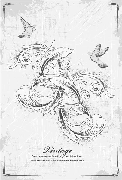 Trendy Birds Eps Vector: Birds With Floral Eps Vector Illustration 5
