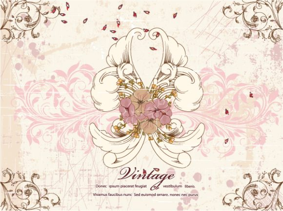 Floral-3 Vector Graphic Grunge Floral Background Vector Illustration 5