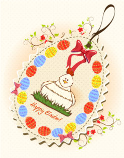 easter background with bird vector illustration Vector Illustrations floral