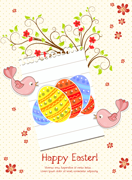 Leaf Vector Design: Easter Background With Birds Vector Design Illustration 2015 01 01 653