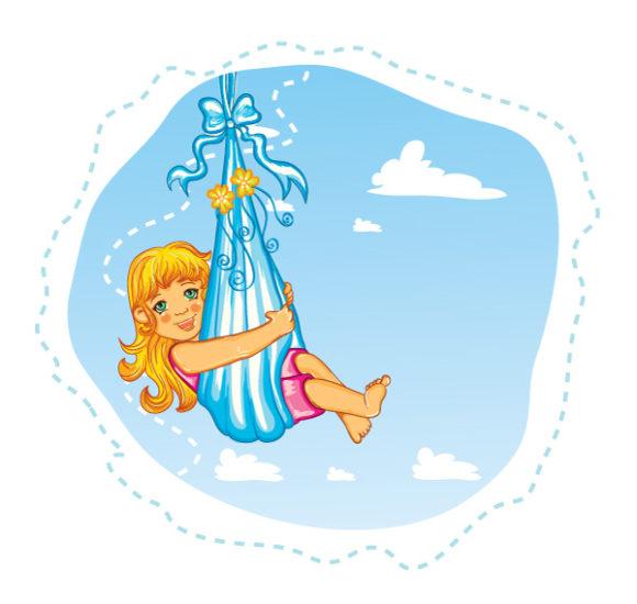 Trendy Cute Vector Background: Cute Little Girl Vector Background Illustration 5