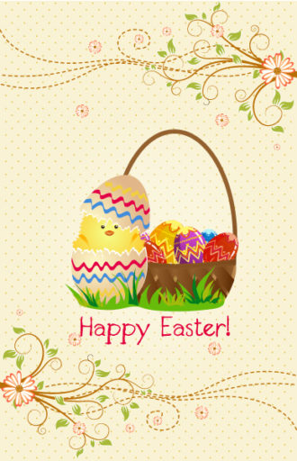 vector colorful background with basket of eggs Vector Illustrations vector