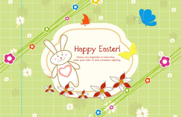 Frame Vector Background: Vector Background Colorful Frame With Bunny 2015 01 01 678