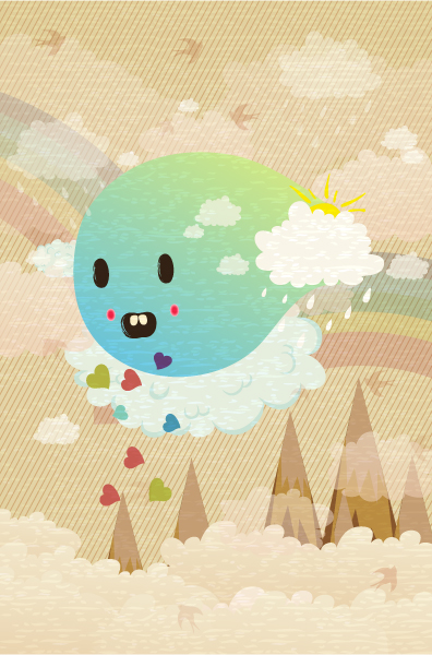 Astounding Old Vector Illustration: Vector Illustration Funny Background With Monster 5