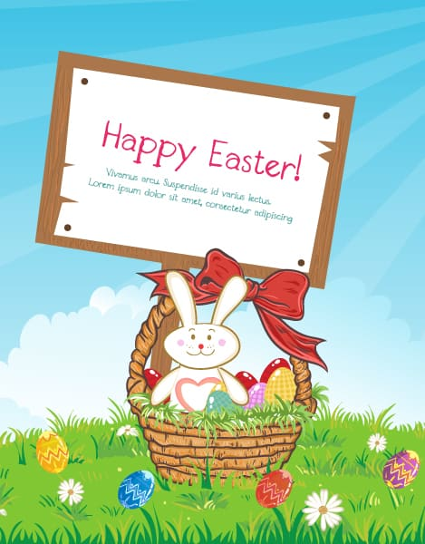 Lovely Easter Eps Vector: Eps Vector Easter Background With Wood Sign 3