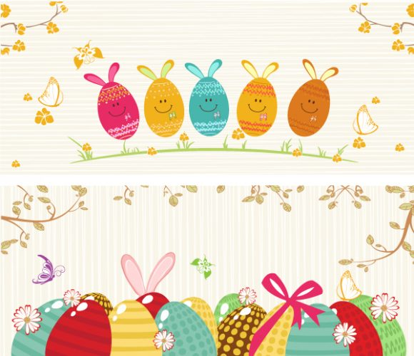 Special Flower Vector Design: Vector Design Easter Background With Eggs 2015 01 01 708