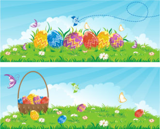 vector easter banners with eggs Vector Illustrations leaf