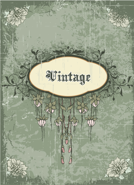 vintage frame with floral vector illustration Vector Illustrations old