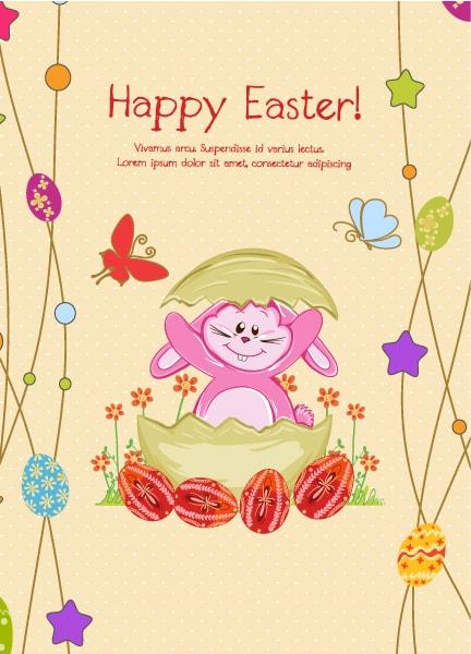 Illustration Vector Background Bunny  Eggs Vector Illustration 3