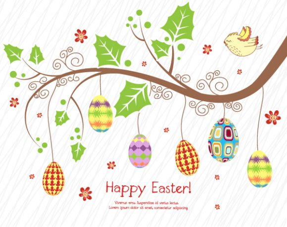branch with eggs vector illustration Vector Illustrations leaf