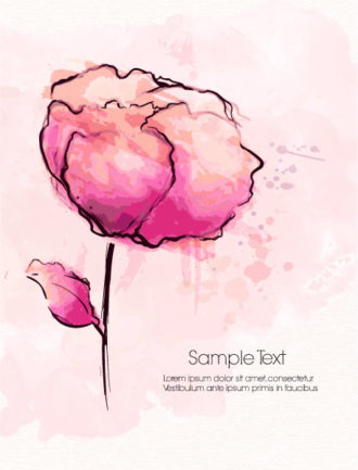 watercolor floral background vector illustration Vector Illustrations old