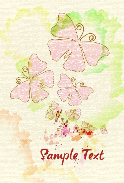 butterflies with grunge vector illustration Vector Illustrations old