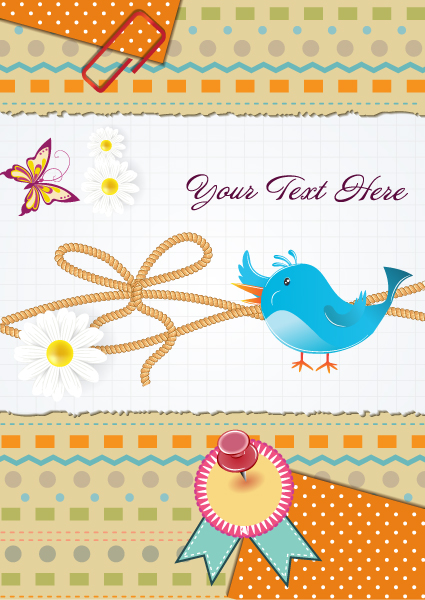 vector bird with scrapbook elements 2015 01 01 864
