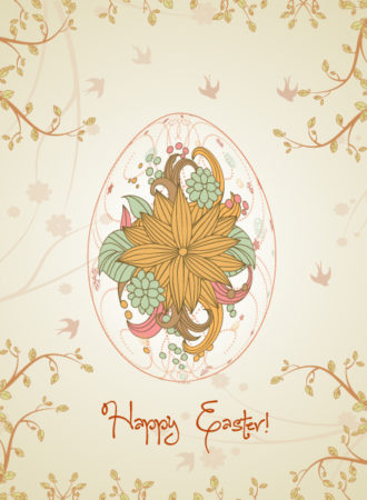 egg with floral vector illustration Vector Illustrations floral