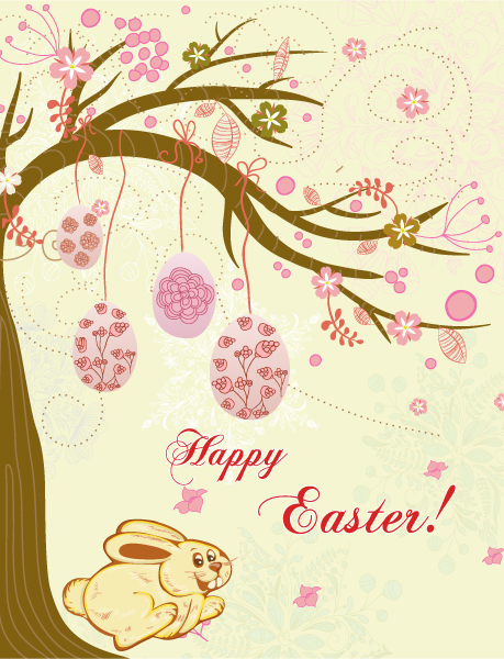 spring background with eggs vector illustration Vector Illustrations tree