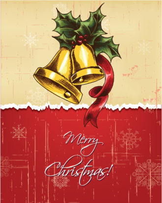 Christmas illustration with bells and holly berry Vector Illustrations vector